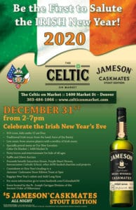 Irish time New Year 5pm Jameson Caskmate toast bagpipes irish dancers